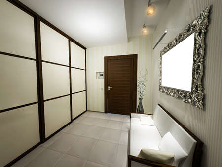 3d illustration of the interior design of an apartment hall in a modern classic style. Render hall for presentation