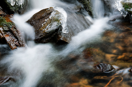 Detail of small waterfall with ice and snow. photo