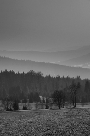 Black and white landscape of hills, mountains and valley in the fog photo