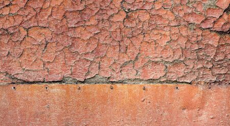 Old orange paint wood and rusty iron surface texture. photo