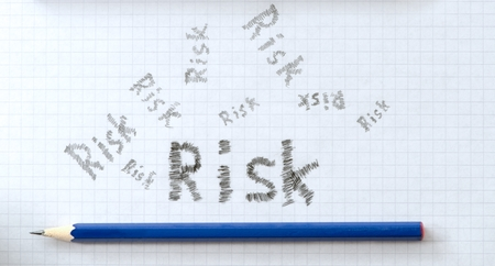 buisiness: Square paper with pencils as risk buisiness concept.