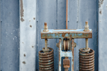 shipper: Detail of old blue rusty metal container. Stock Photo