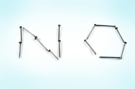 negation: No word built of iron nails, refuse something. Stock Photo