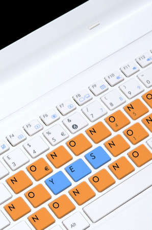 technology agreement: Special yes no computer keyboard as decision making concept. Stock Photo