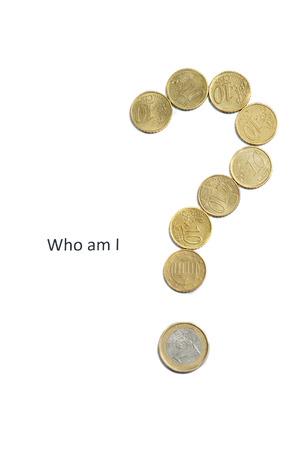 point d interrogation: Qui suis-je? Business concept isol� sur fond blanc. Banque d'images
