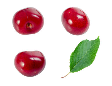 angles: A cherry shot from three different angles and a leaf. Stock Photo