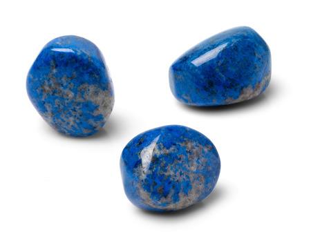 lapis: Lapis lazuli shot form three different angles on white background. Stock Photo