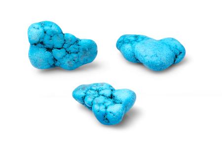 burnished: Blue turquoise hawlit shot from thre angles isolated on white background.