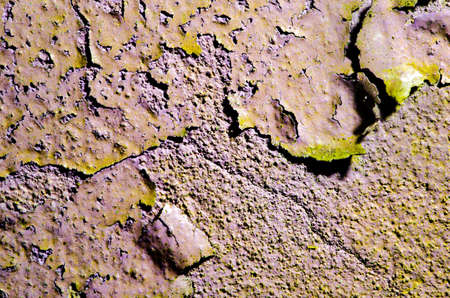broken wall: Texture of old broken wall with cracked paint surface. Stock Photo
