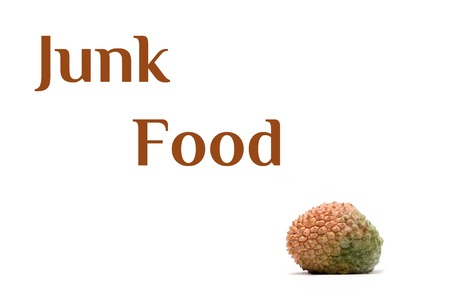 litchi: Junk food text and litchi isolated on white background.