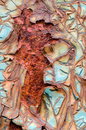 aging process: Texture of blue cracked paint on metal surface, aging process. Stock Photo