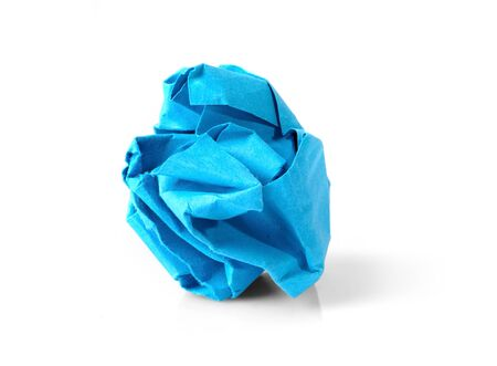 crinkle: Blue wrinkled paper ball isolated on white background, symbol of recycling and wasting our resources.