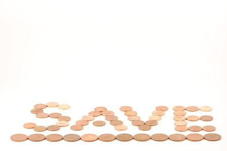 in twos: Pennies make the word save, underlined by twos.