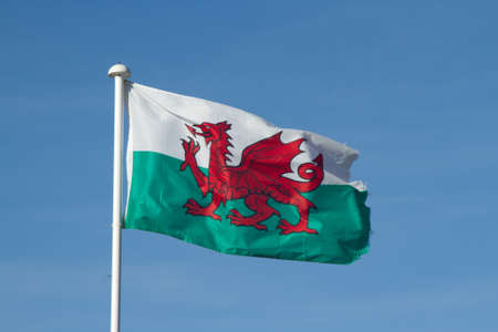 Welsh flag, red dragon on a white and green background, on a pole, fluttering in the wind with a blue sky background.
