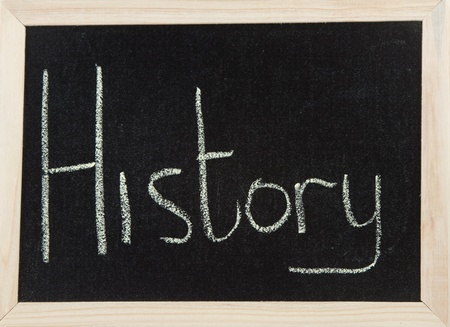 A black board with a wooden frame and the word HISTORY written in chalk. Stock Photo
