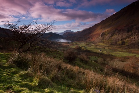 nant: The valley of Nant Gwynant, Snowdonia National Park, Wales, UK, in the early dawn light with a lake and mountains.
