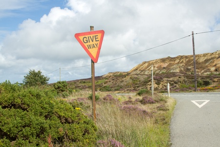 A rural road junction with a sign on a post with the words 'GIVE WAY' on a post amongst plants. Stock Photo - 14964538
