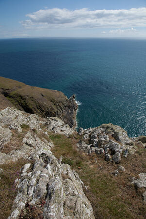 A cliff top view of Fishermans point, coast path, Cilan Head, Lleyn peninsular, Gwynedd, Wales, UK.