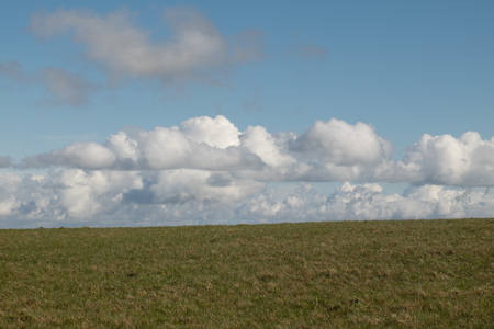 Short green grass and lines of white cloud under a blue sky. Stock Photo