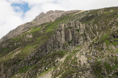 The mountainside crag Dinas Cromlech in the Snowdonia National Park, Llanberis Pass, Wales, Uk. Stock Photo