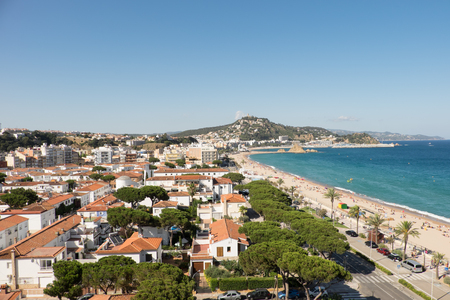 A view across the coastal town and beach of Blanes, Catalonia, Spain.