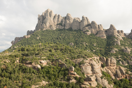 Forestry leads to the conglomerate rock towers of Mont Serrat, Catalonia, Spain, Europe. Stock Photo