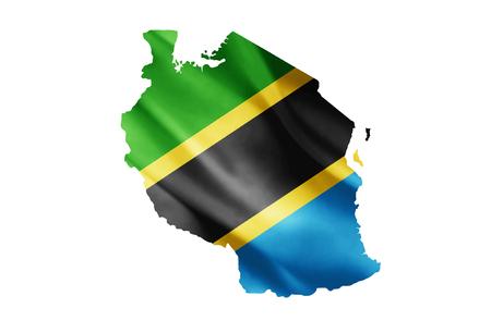Eine Flagge der Vereinigten Republik Tansania Innerhalb MAP, Vollfarbig Vektorgrafik