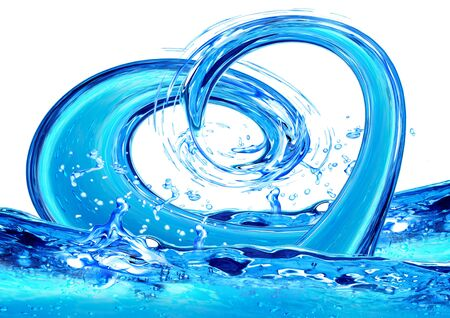Water with bubbles in form of heart