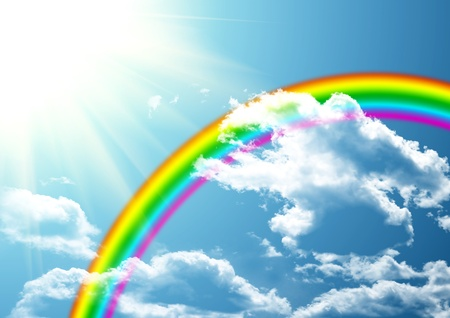 Rainbow in clouds photo
