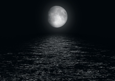 luna: Full moon reflected in water