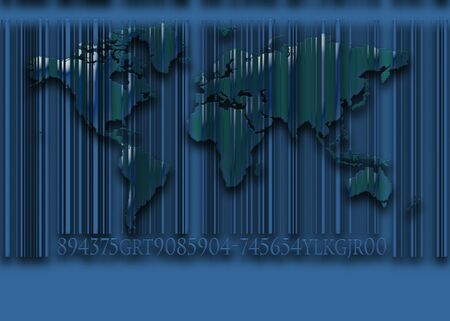 world map and BarCODE background photo