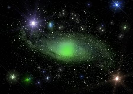 Green spiral galaxy and star dust shined with stars Stock Photo - 14322369