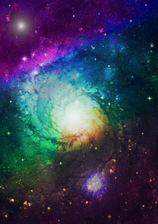 Spiral galaxy against black space, nebula and stars in deep outer space photo
