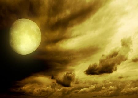 Full moon in the night black sky photo