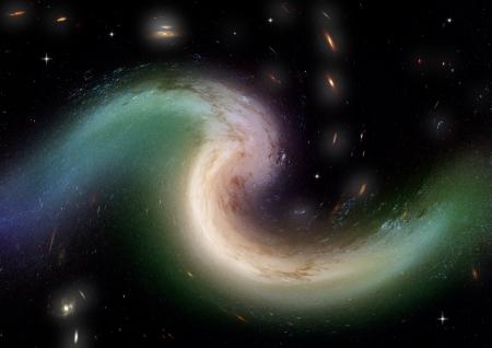 Being shone spiral gas nebula photo