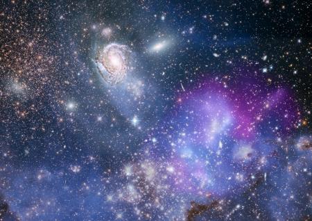 Estrellas de un planeta y la galaxia en un espacio libre