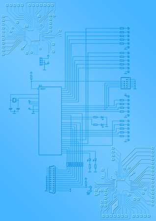 The electronic scheme with the microprocessor and printing conductors photo