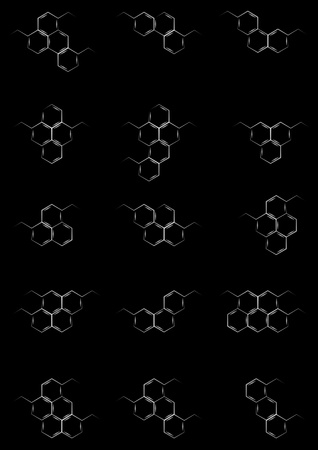 Blackboard with structural chemical formulas of benzene rings photo