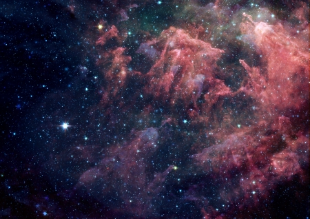 Far being shone nebula and star field against space photo