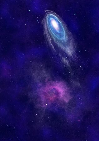 Stars and spiral galaxy in a free space photo