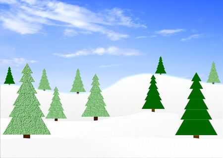 firtrees: Winter landscape with fir-trees Stock Photo