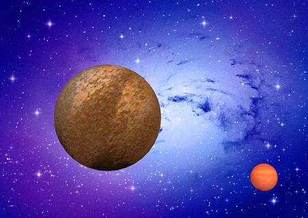 far-out planets in a space against stars Stock Photo - 17448340