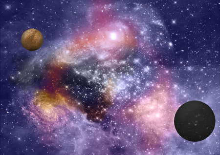 far-out planets in a space against stars Stock Photo - 17603953
