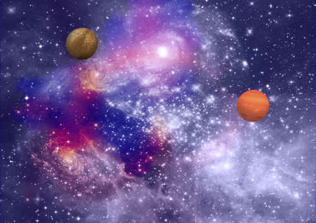 far-out planets in a space against stars Stock Photo - 17603955