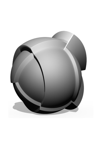 diameters: the abstract difficult form made of parts of full-spheres of different diameters