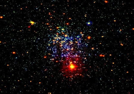 Star field in space and a gas congestion