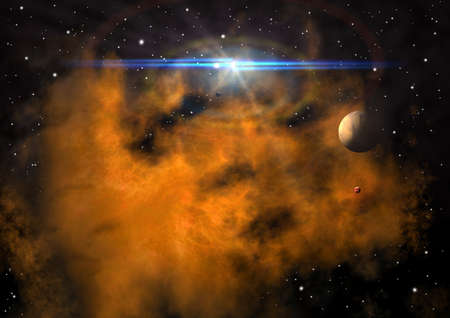 distant: far-out planets in a space against stars