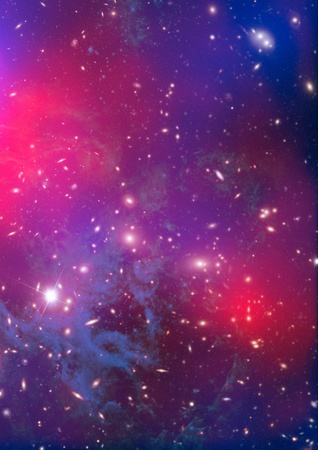 shone: Far being shone nebula and star field against space  Stock Photo