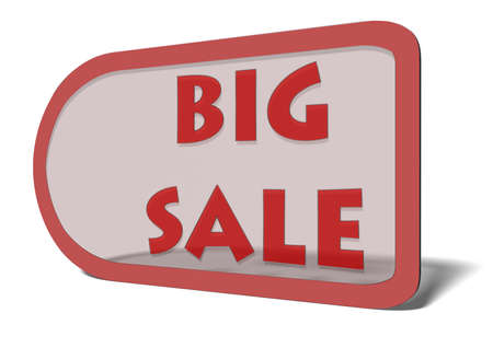 markdown: A price tag with the words Big Sale, illustrating a deep discount or markdown on merchandise during a limited-time sale