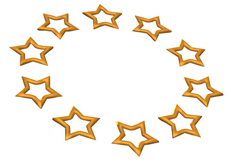 Gold Stars  Isolated on white  Three dimensional render